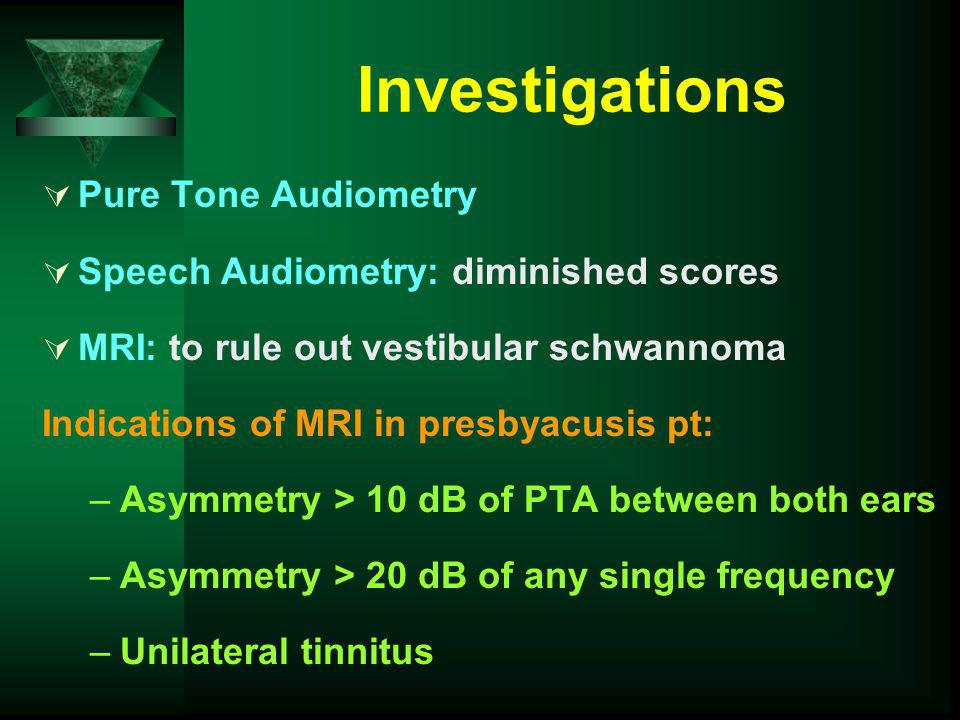 Investigations Pure Tone Audiometry