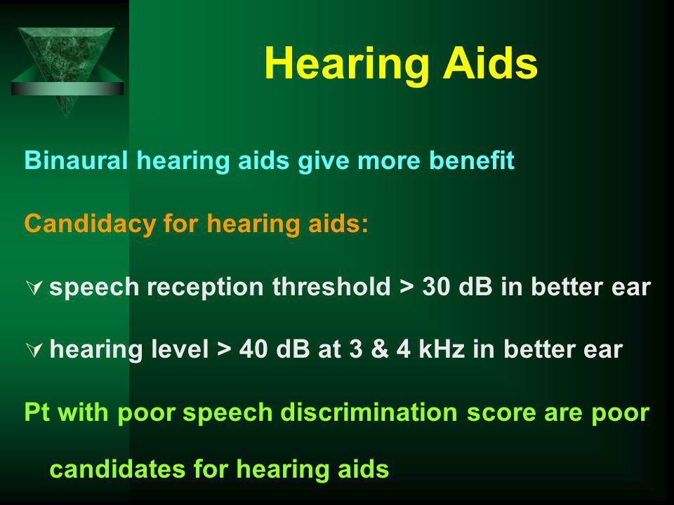 Hearing Aids Binaural hearing aids give more benefit