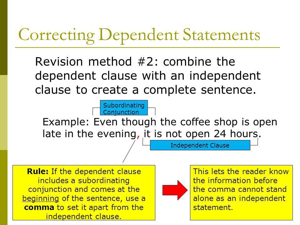 Correcting Dependent Statements