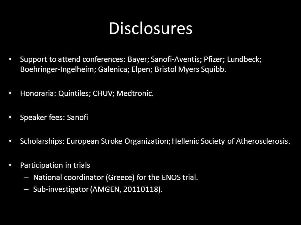 Disclosures Support to attend conferences: Bayer; Sanofi-Aventis; Pfizer; Lundbeck; Boehringer-Ingelheim; Galenica; Elpen; Bristol Myers Squibb.