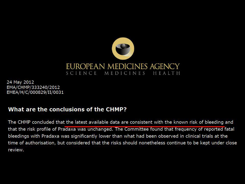 The same also here in Europe: The European Medicines Agency in 2012 concluded that the latest available data are consistent with the known risks of bleeding!