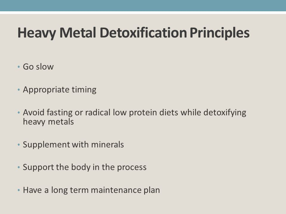 Heavy Metal Detoxification Principles