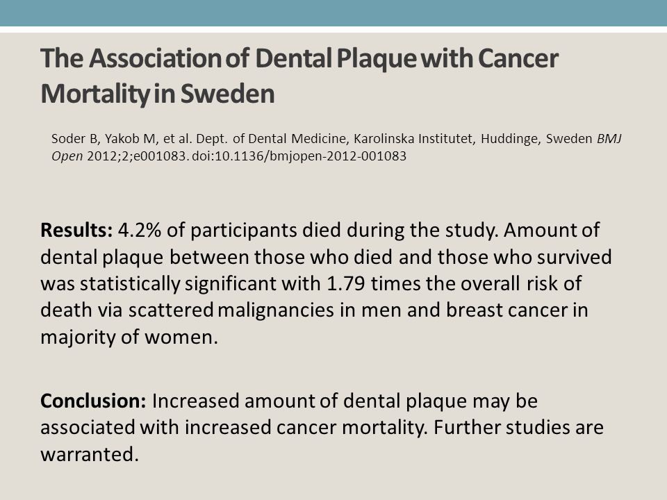 The Association of Dental Plaque with Cancer Mortality in Sweden