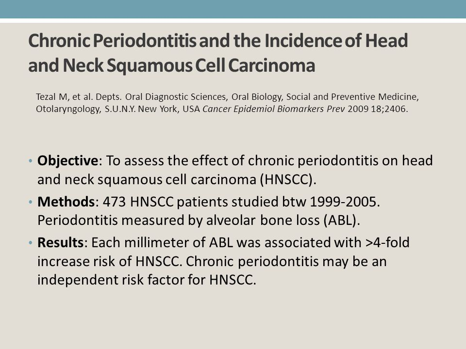 Chronic Periodontitis and the Incidence of Head and Neck Squamous Cell Carcinoma