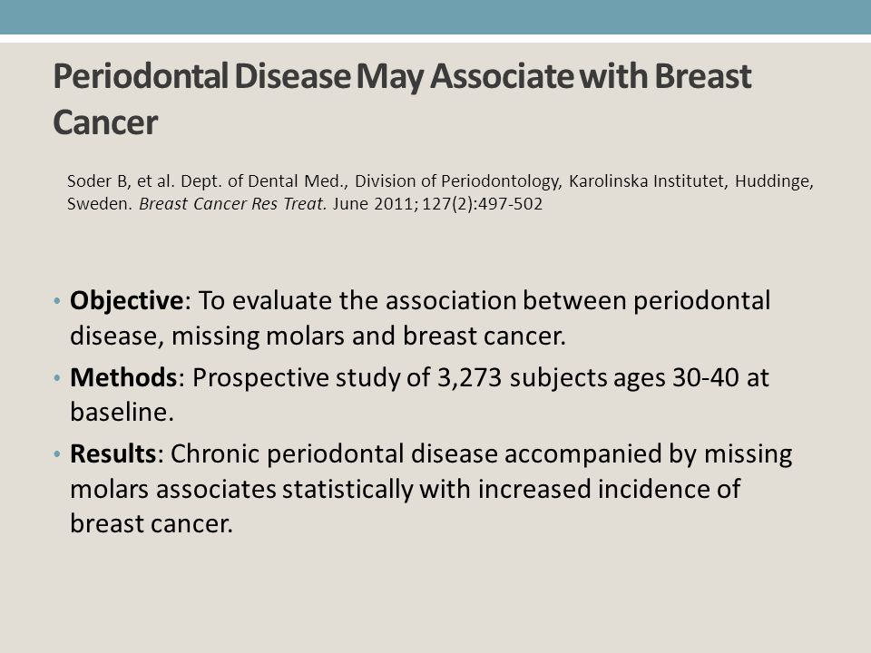 Periodontal Disease May Associate with Breast Cancer