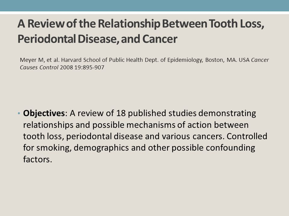 A Review of the Relationship Between Tooth Loss, Periodontal Disease, and Cancer