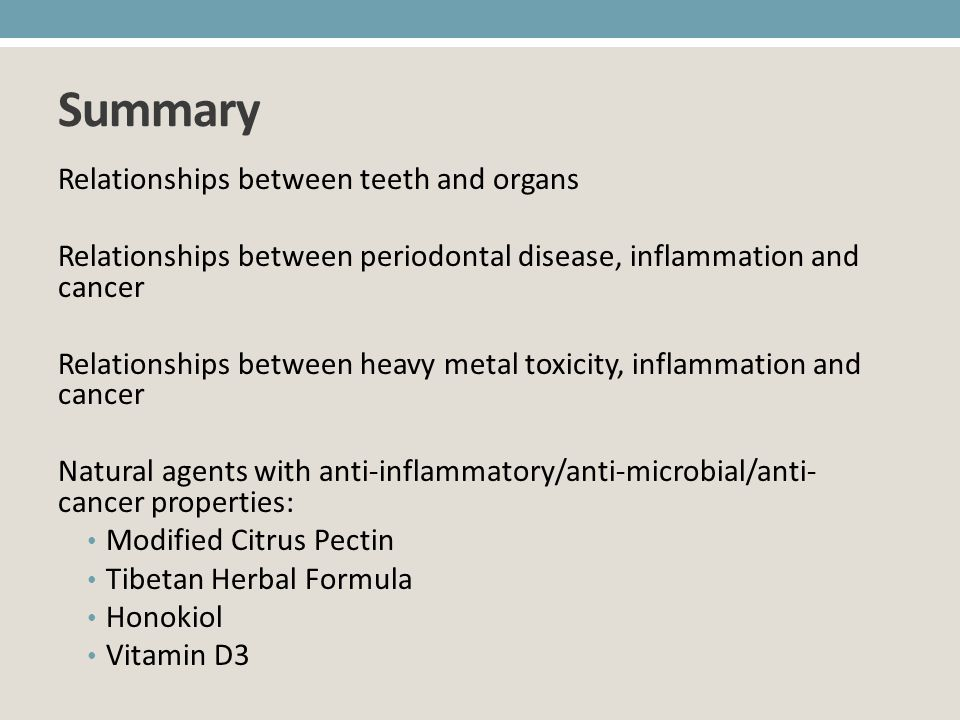 Summary Relationships between teeth and organs
