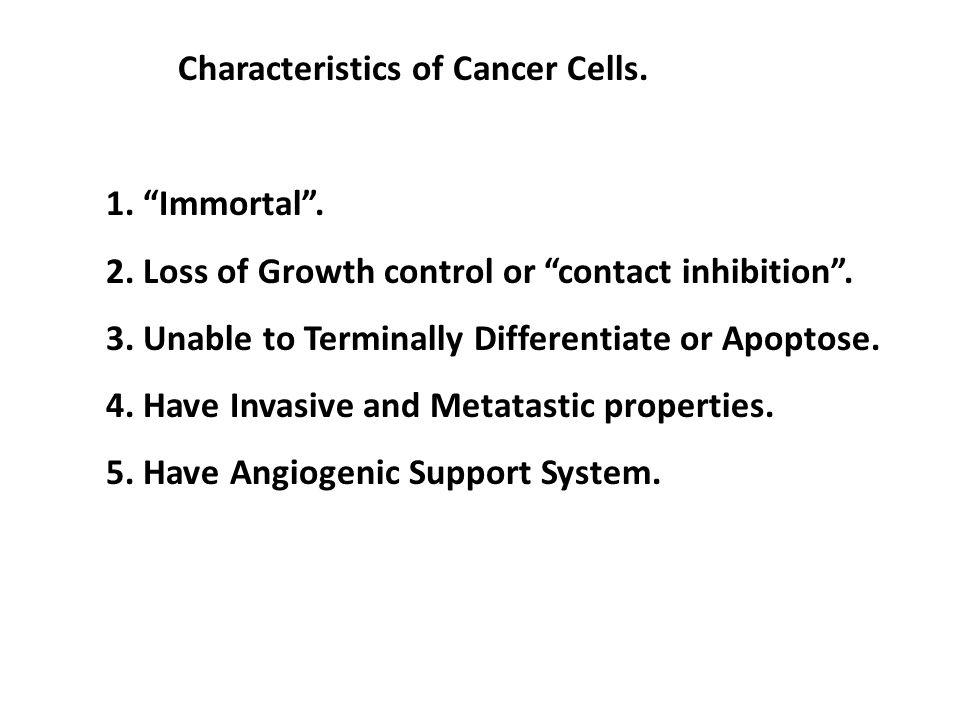 Characteristics of Cancer Cells.