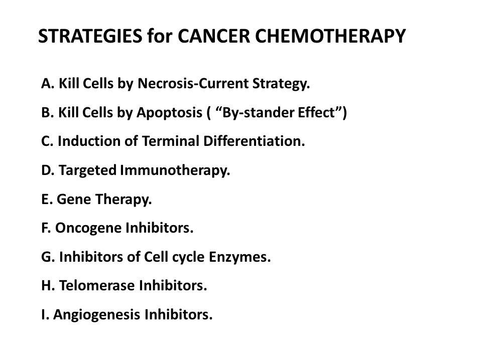 STRATEGIES for CANCER CHEMOTHERAPY
