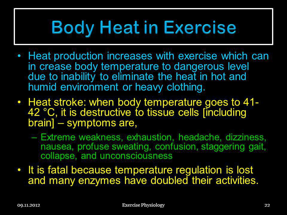 Body Heat in Exercise