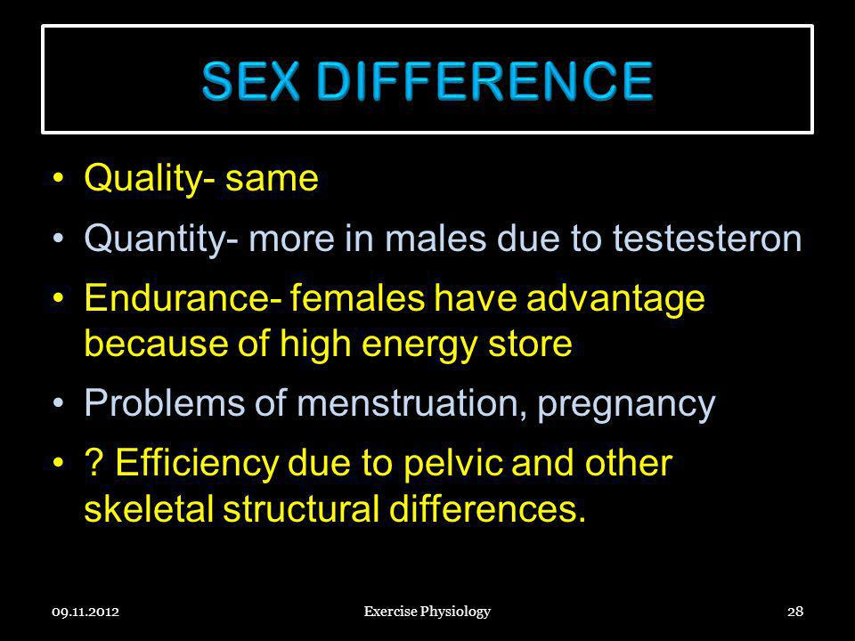 SEX DIFFERENCE Quality- same