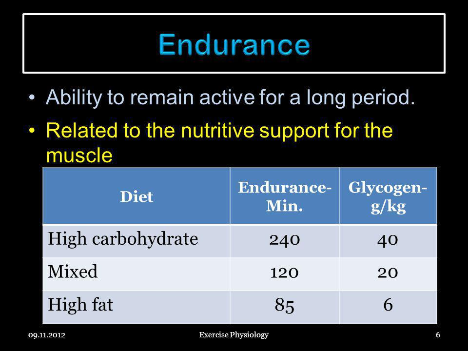 Endurance Ability to remain active for a long period.
