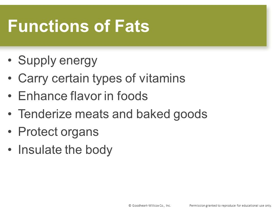 Functions of Fats Supply energy Carry certain types of vitamins