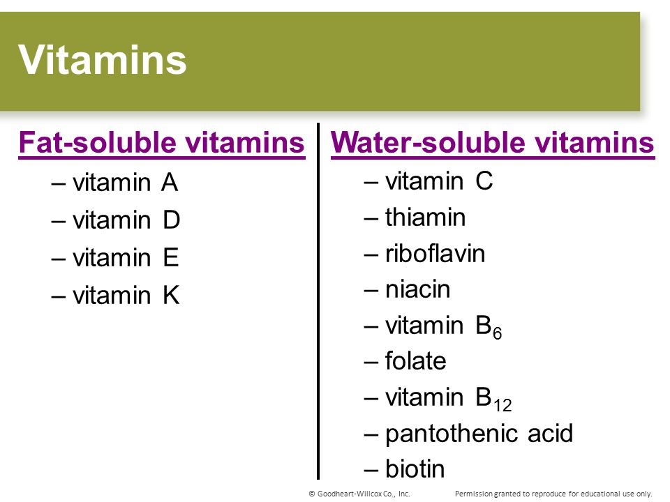 Vitamins Fat-soluble vitamins Water-soluble vitamins vitamin A