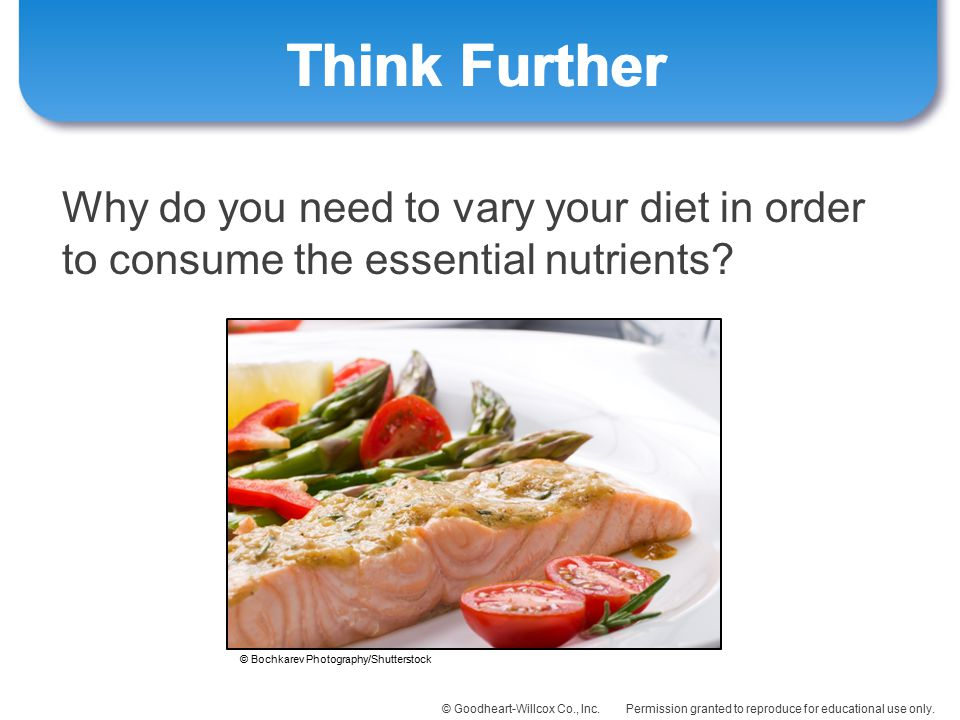Think Further Why do you need to vary your diet in order to consume the essential nutrients.