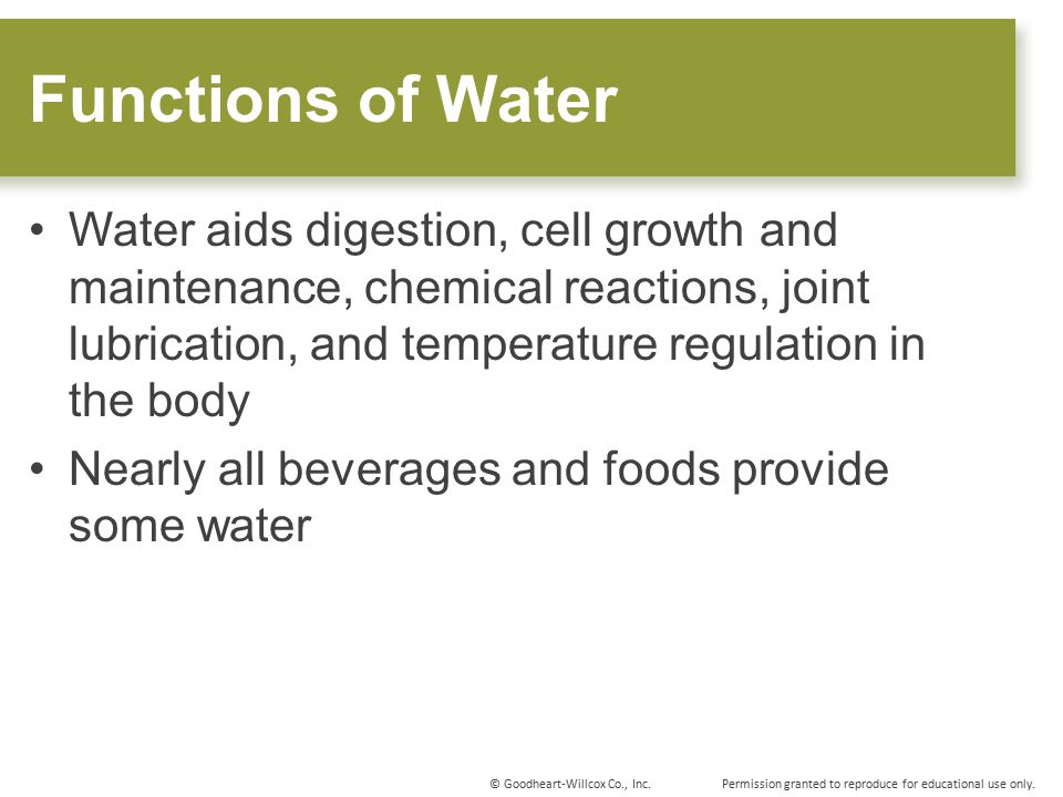 Functions of Water Water aids digestion, cell growth and maintenance, chemical reactions, joint lubrication, and temperature regulation in the body.