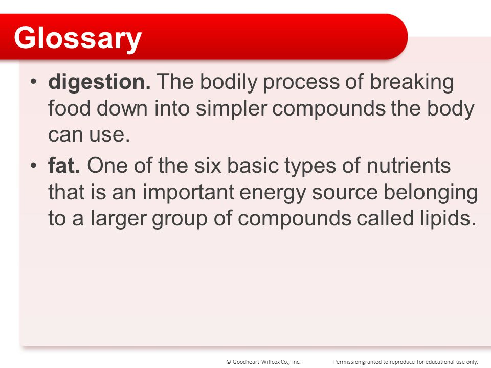 Glossary digestion. The bodily process of breaking food down into simpler compounds the body can use.