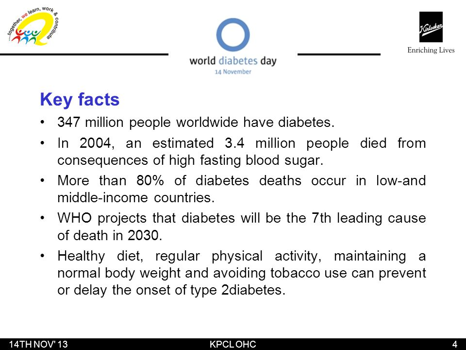 Key facts 347 million people worldwide have diabetes.