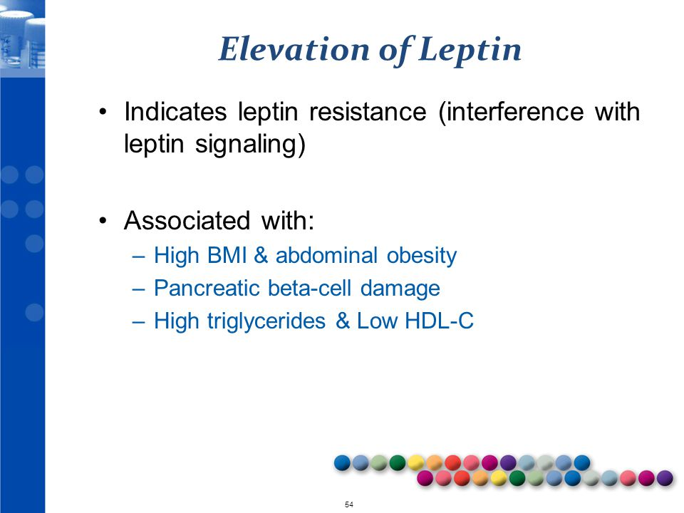 Elevation of Leptin Indicates leptin resistance (interference with leptin signaling) Associated with: