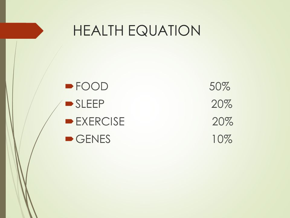 HEALTH EQUATION FOOD 50% SLEEP 20%