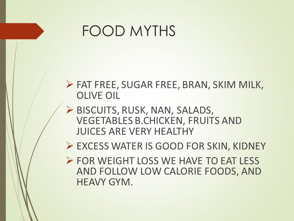 FOOD MYTHS FAT FREE, SUGAR FREE, BRAN, SKIM MILK, OLIVE OIL