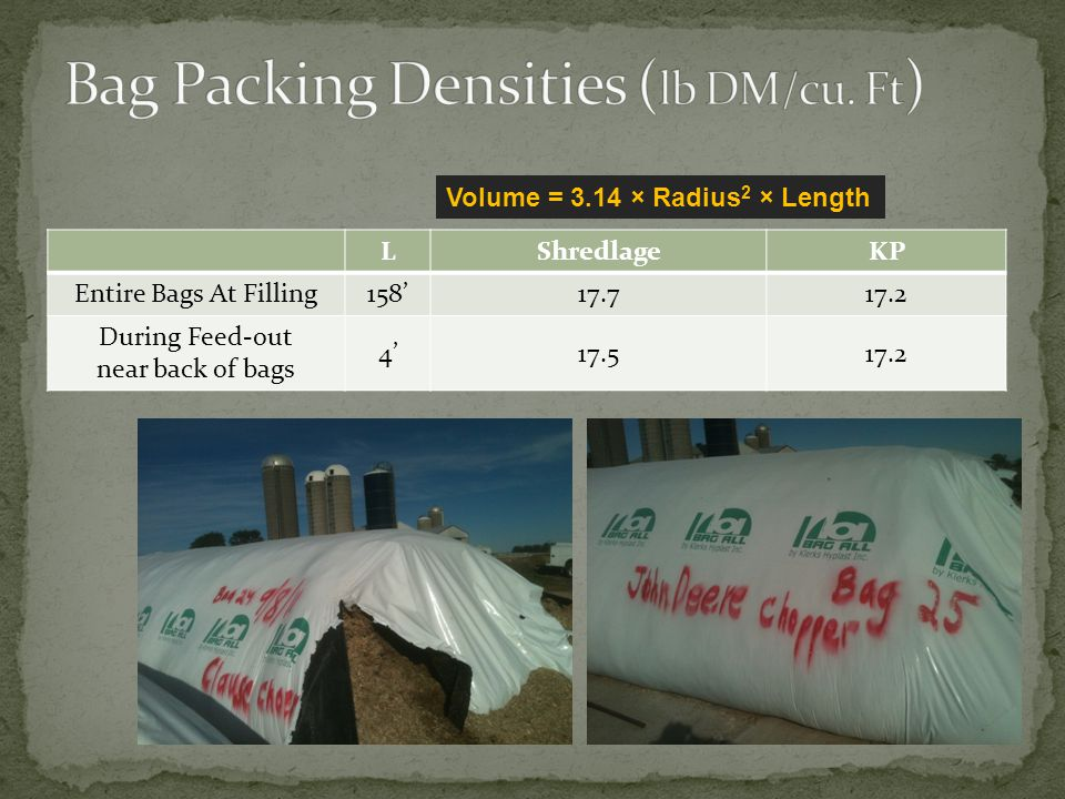 Bag Packing Densities (lb DM/cu. Ft)
