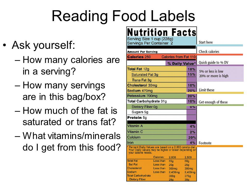Reading Food Labels Ask yourself: How many calories are in a serving