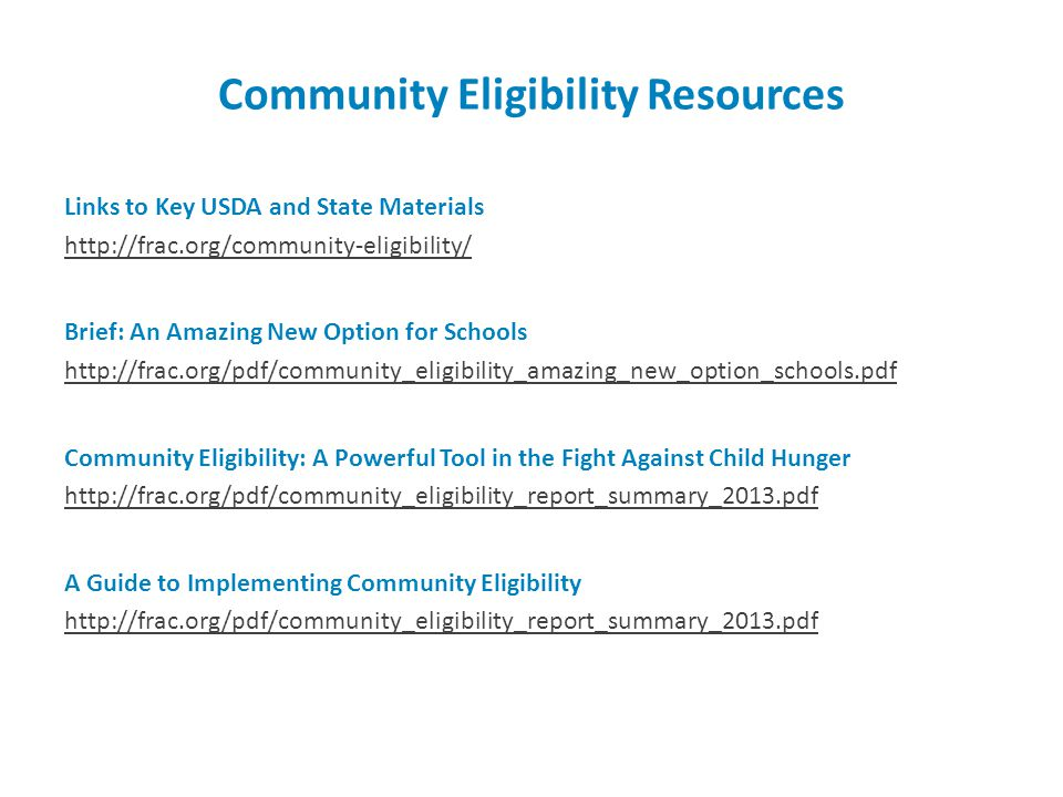 Community Eligibility Resources