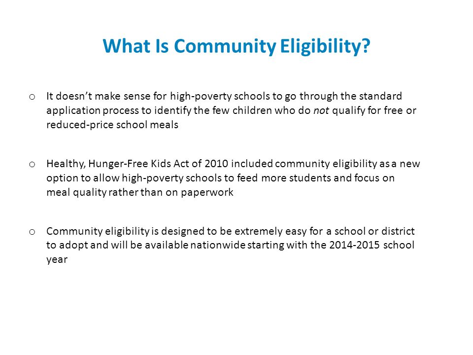 What Is Community Eligibility