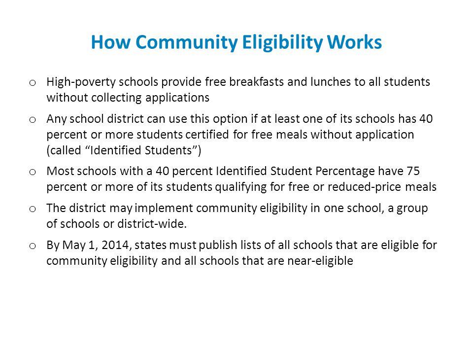How Community Eligibility Works