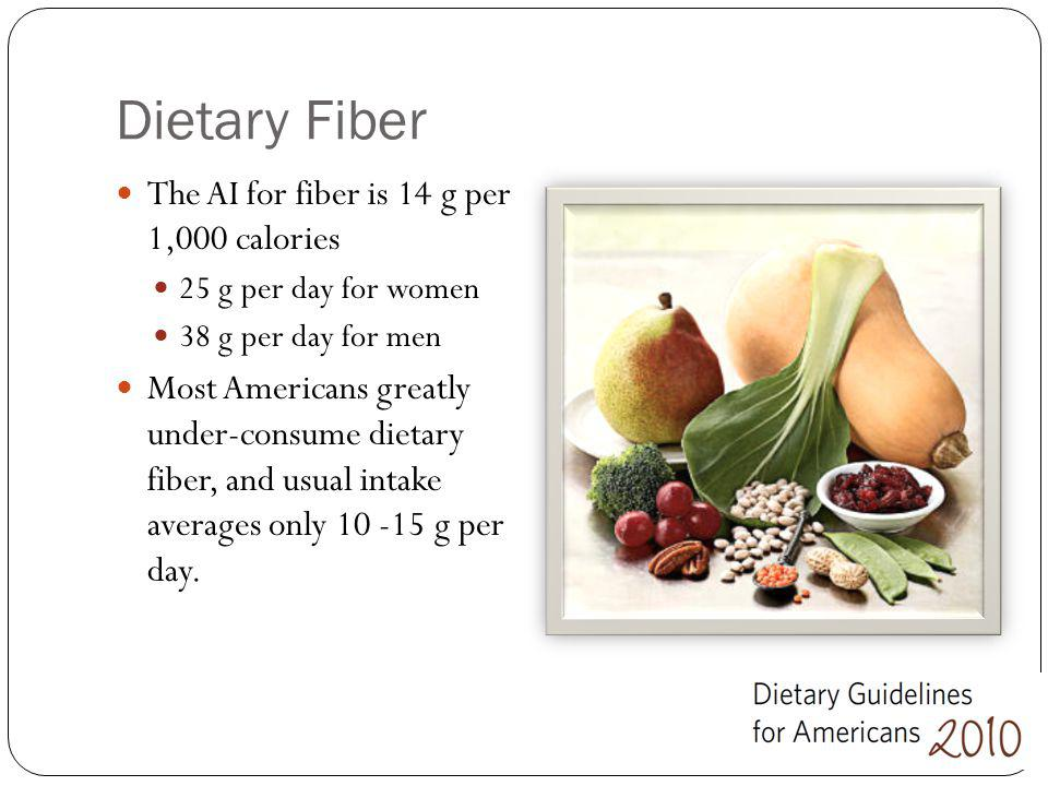 Dietary Fiber The AI for fiber is 14 g per 1,000 calories