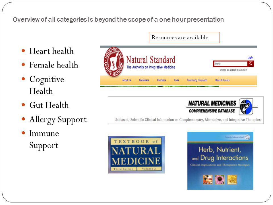 Heart health Female health Cognitive Health Gut Health Allergy Support