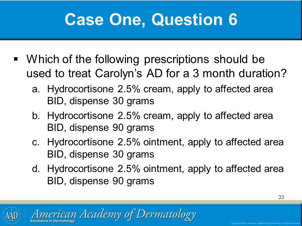 Case One, Question 6 Which of the following prescriptions should be used to treat Carolyn's AD for a 3 month duration