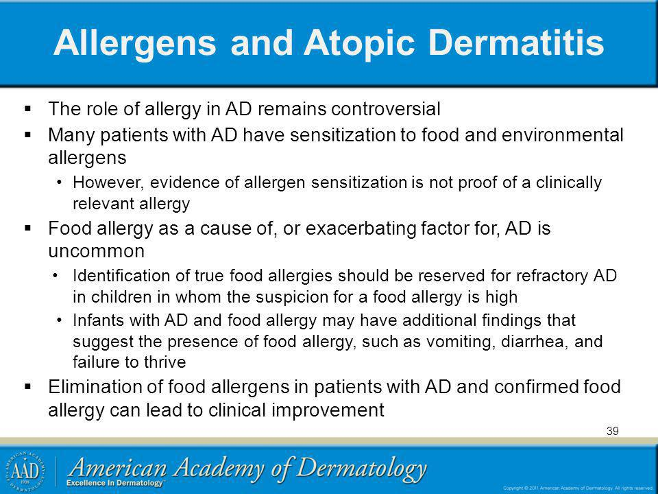 Allergens and Atopic Dermatitis