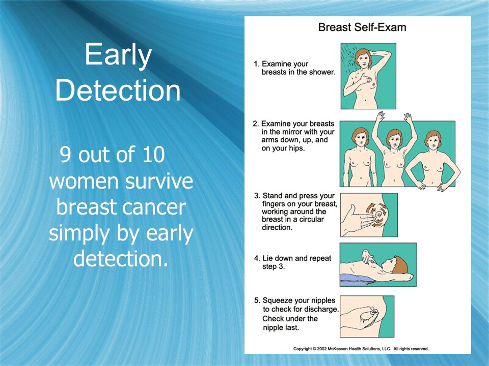 9 out of 10 women survive breast cancer simply by early detection.