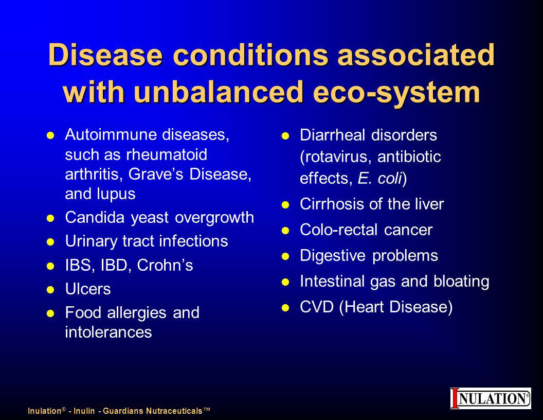 Disease conditions associated with unbalanced eco-system