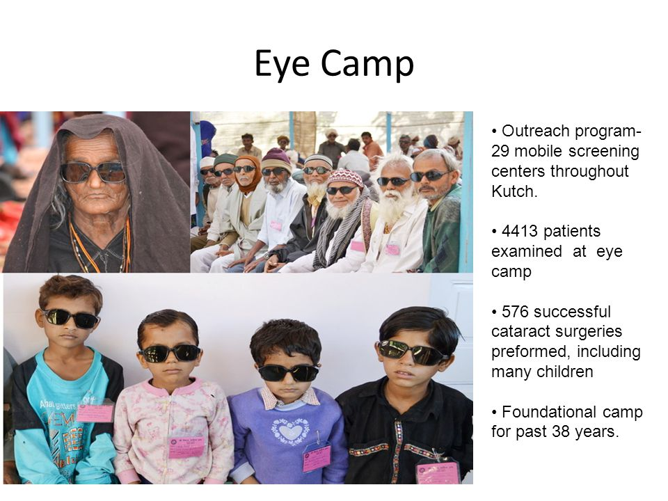 Eye Camp Outreach program-29 mobile screening centers throughout Kutch. 4413 patients examined at eye camp.