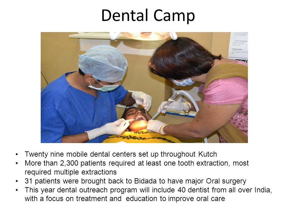 Dental Camp Twenty nine mobile dental centers set up throughout Kutch