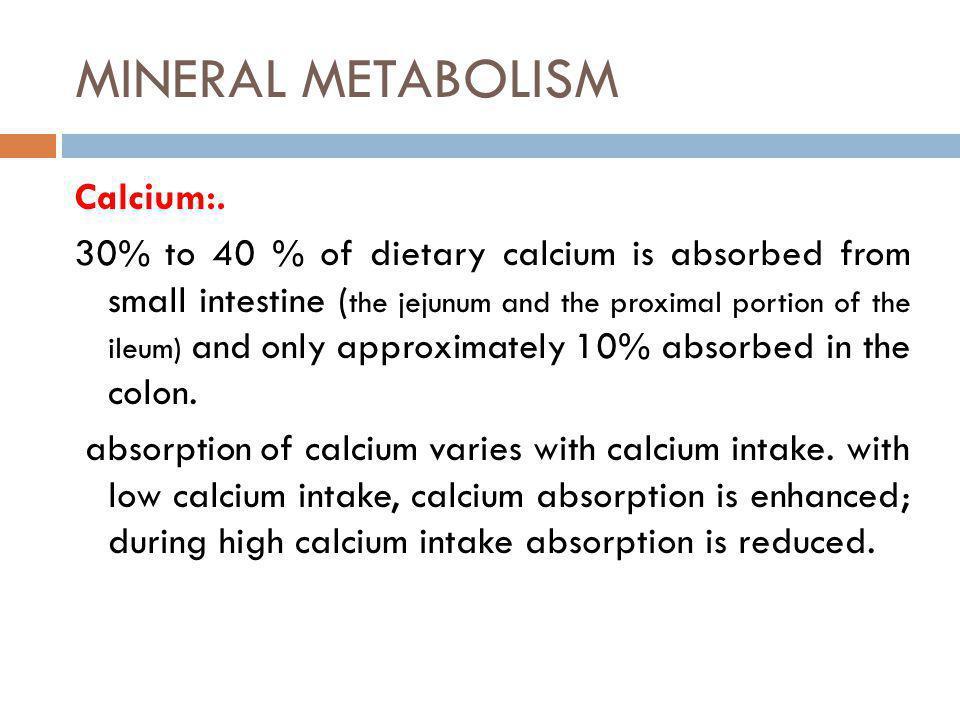 MINERAL METABOLISM Calcium:.