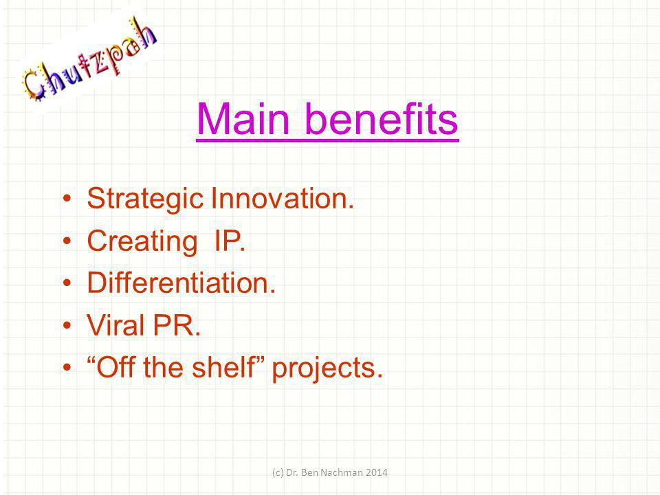 Main benefits Strategic Innovation. Creating IP. Differentiation.