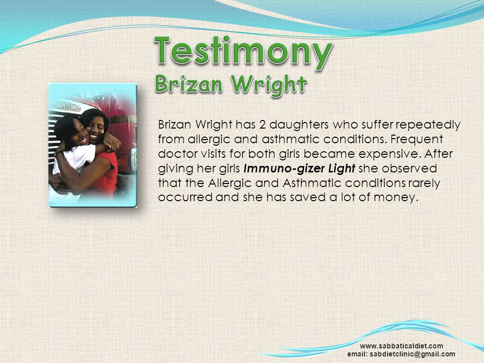 Testimony Brizan Wright