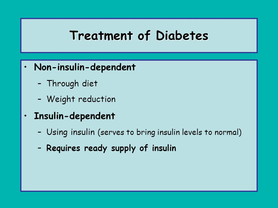 Treatment of Diabetes Non-insulin-dependent Insulin-dependent
