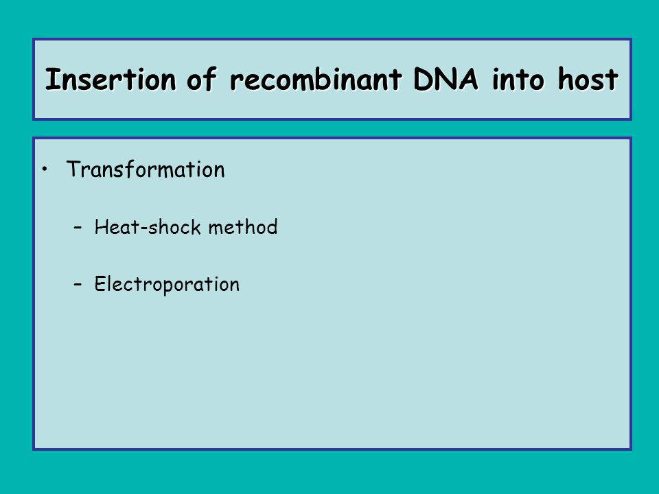 Insertion of recombinant DNA into host