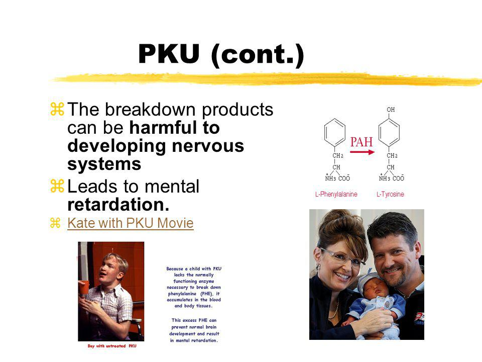 PKU (cont.) The breakdown products can be harmful to developing nervous systems. Leads to mental retardation.
