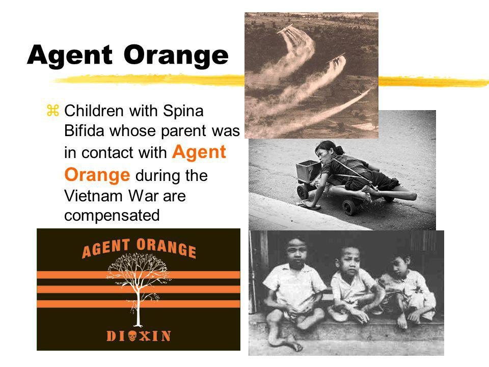 Agent Orange Children with Spina Bifida whose parent was in contact with Agent Orange during the Vietnam War are compensated.
