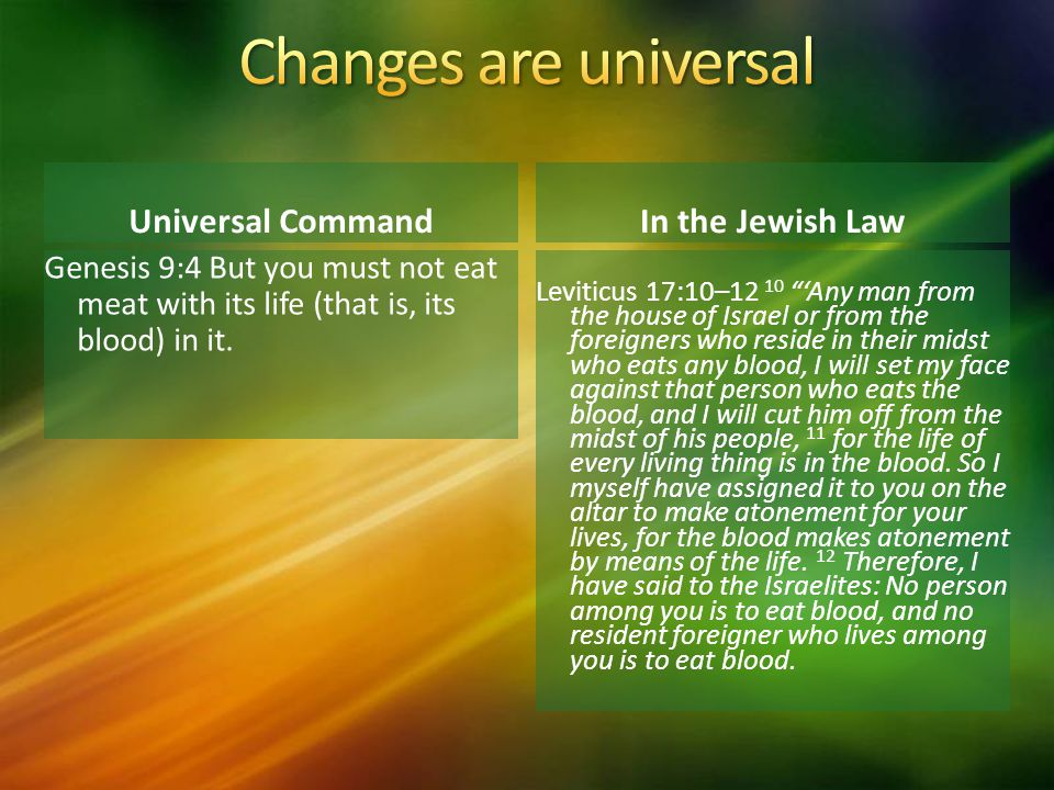 Changes are universal Universal Command In the Jewish Law