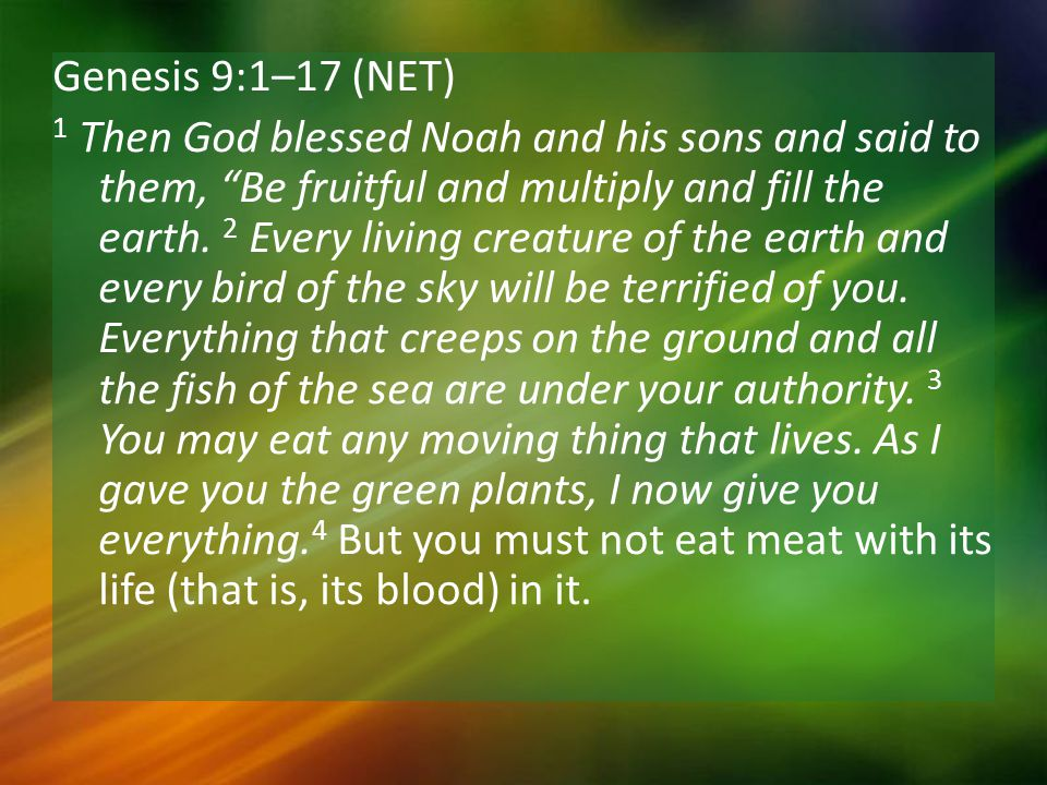 Genesis 9:1–17 (NET) 1 Then God blessed Noah and his sons and said to them, Be fruitful and multiply and fill the earth.