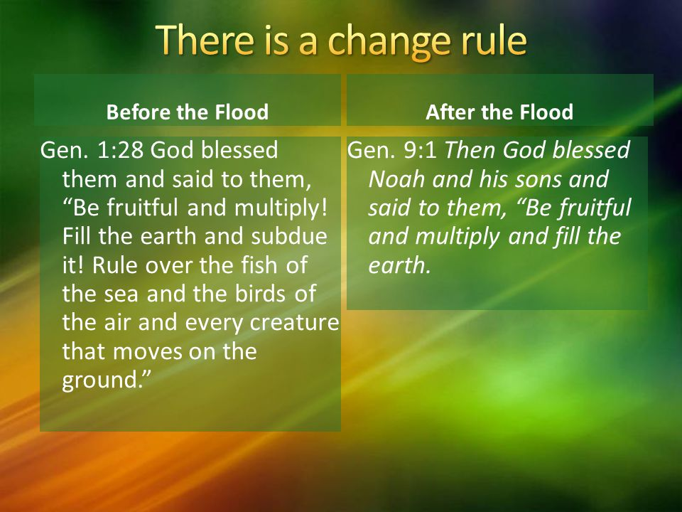 There is a change rule Before the Flood. After the Flood.