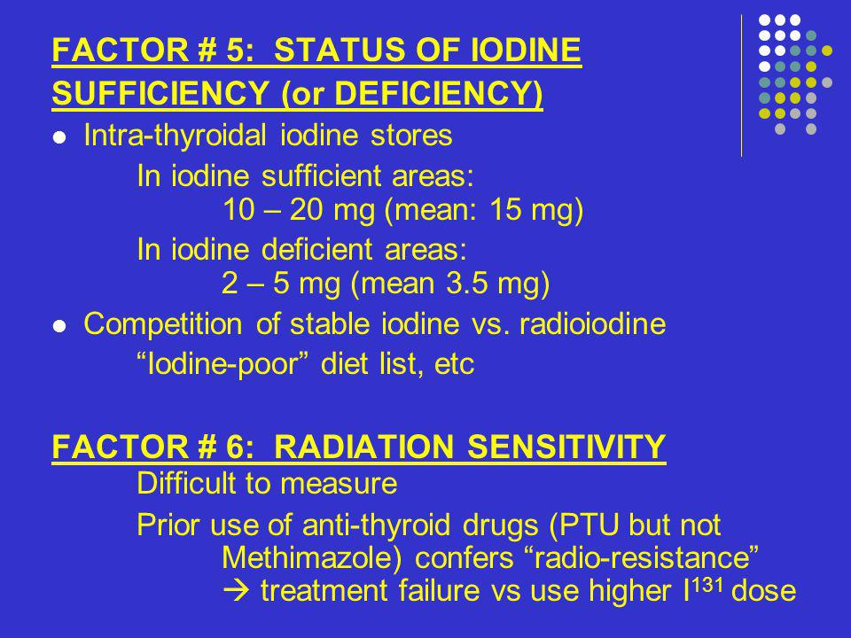 FACTOR # 5: STATUS OF IODINE SUFFICIENCY (or DEFICIENCY)