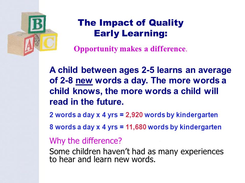 The Impact of Quality Early Learning: